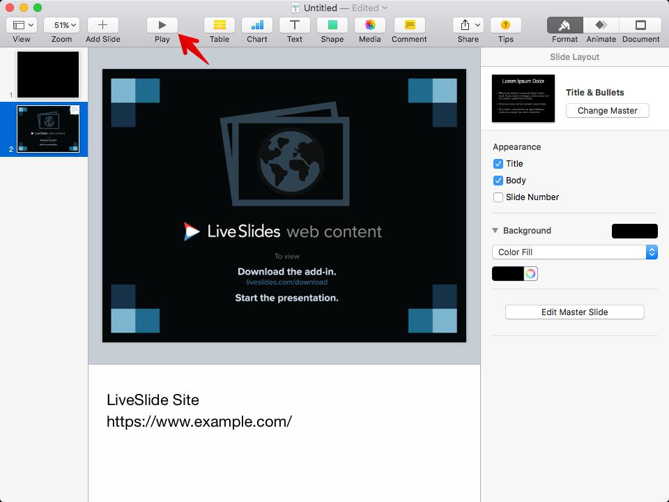 How to insert or embed Marvel into Keynote | LiveSlides